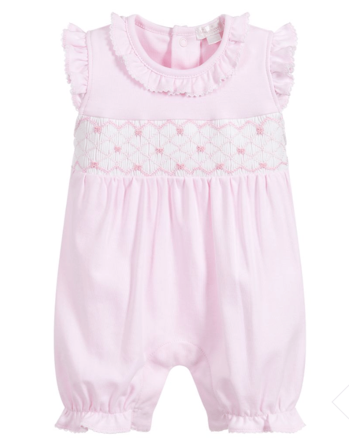 Kissy Kissy Pink Short Playsuit w/ Hand Smocking