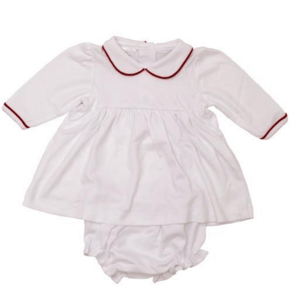 Bambinos Trinity Twirl Dress- White with Red Trim