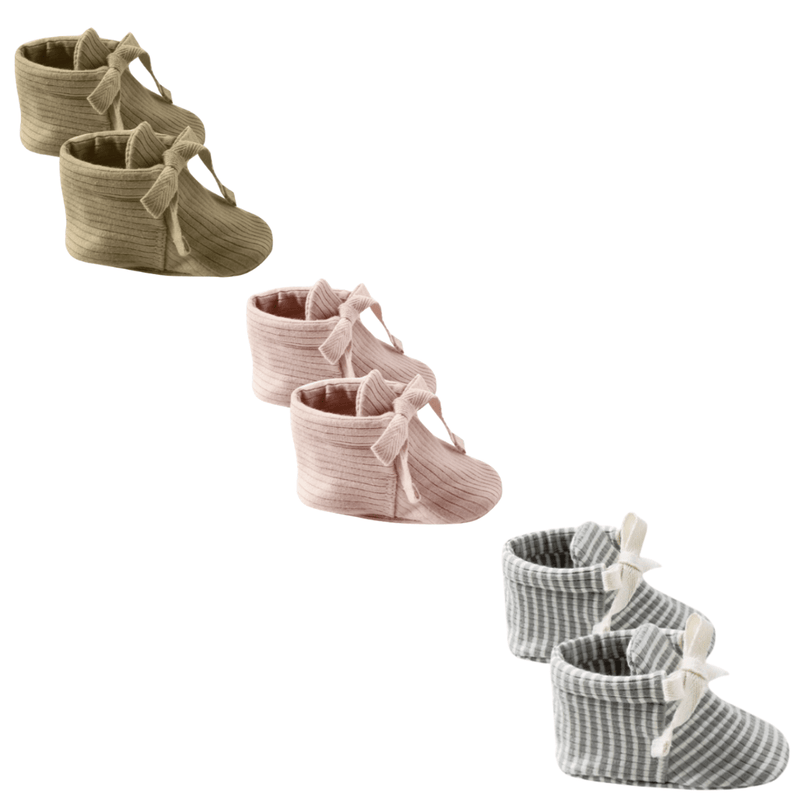 Quincy Mae Baby Booties Organic Ribbed Cotton