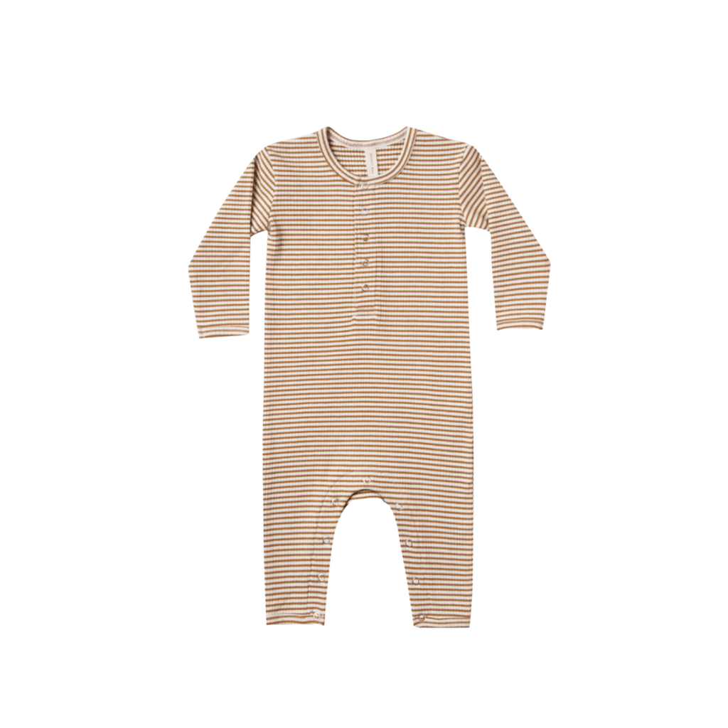 Quincy Mae Organic Ribbed Baby Jumpsuit - Walnut Stripe