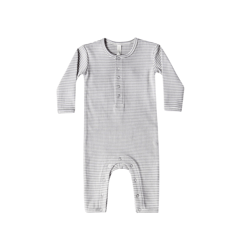 Quincy Mae Organic Ribbed Baby Jumpsuit - Eucalyptus Stripe