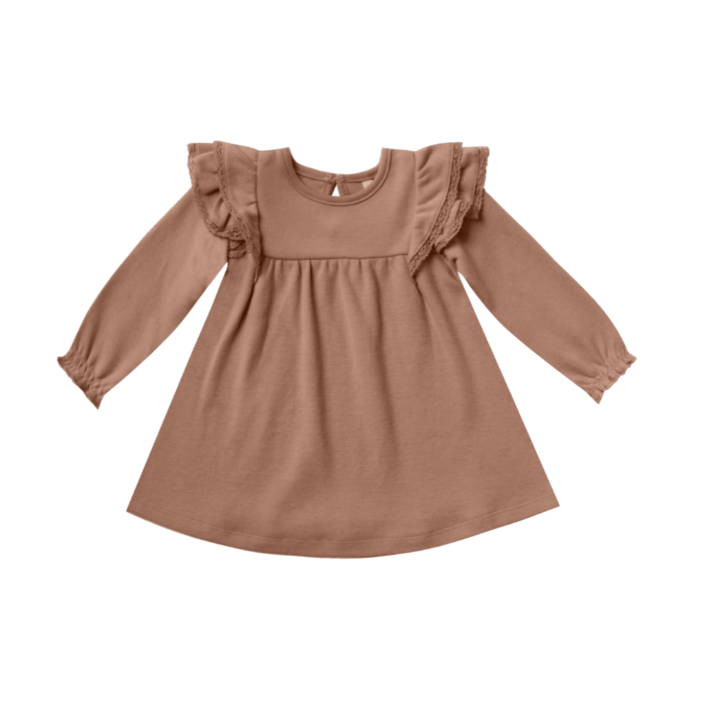 Quincy Mae Long Sleeve Flutter Dress Organic Brushed Jersey - Clay