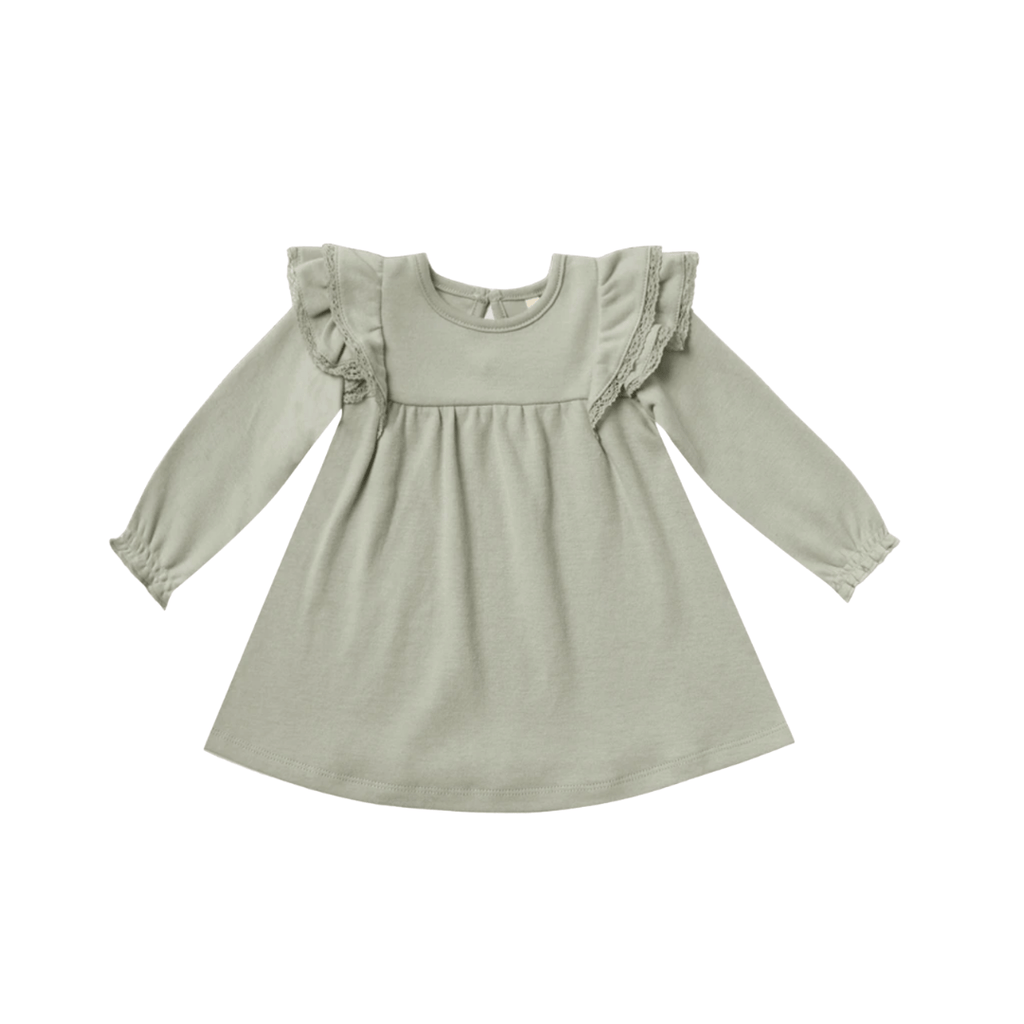 Quincy Mae Long Sleeve Flutter Dress Organic Brushed Jersey - Sage