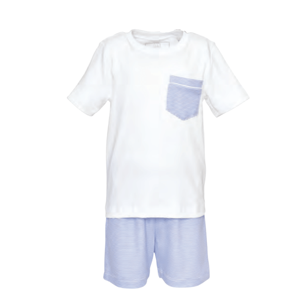 Lila+ Hayes Charles Pajamas - Blue and White Stripe