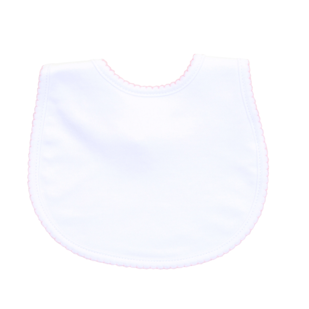 Magnolia Baby Essentials Bib- White with Pink
