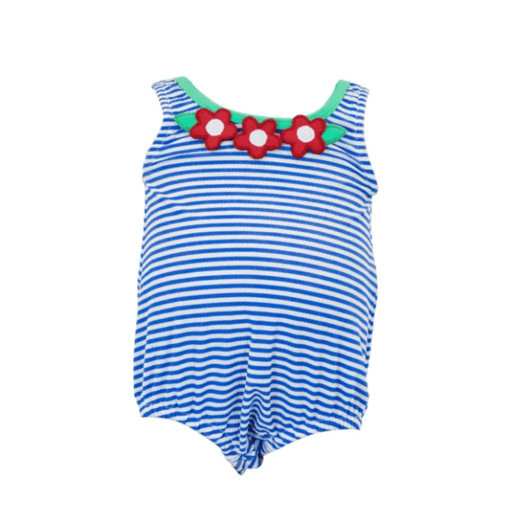 Florence Eiseman Infant Seersucker Bubble Swimsuit with Flowers