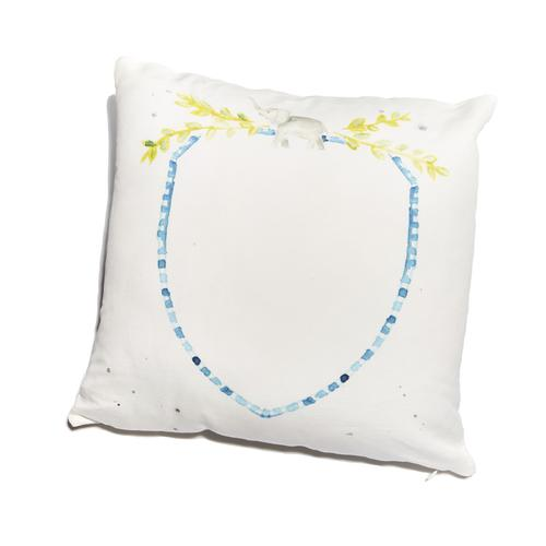 Over the Moon Blue Crest Pillow