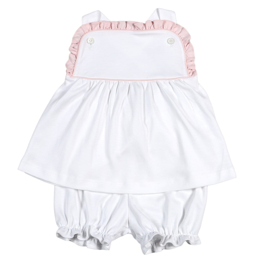 Baby Bliss Eli White with Pink Trim Ruffle Pima Bloomer Set