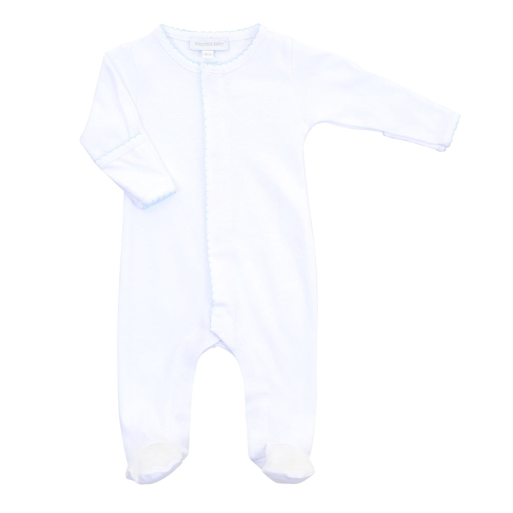 Magnolia Baby Essentials Footie - White with Light Blue