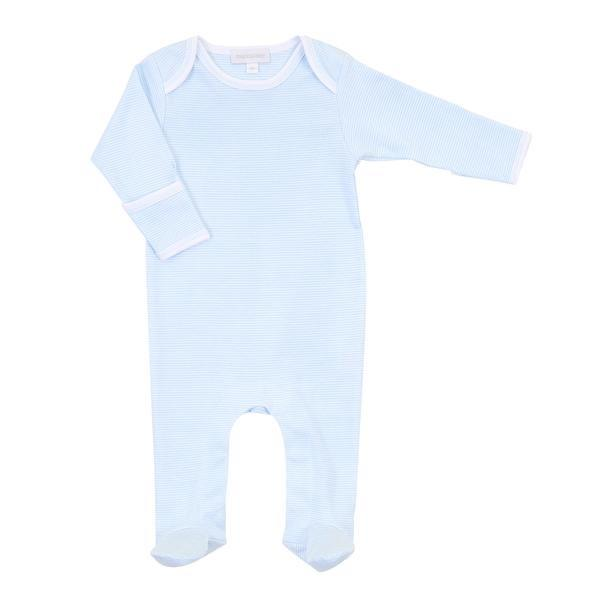 Magnolia Baby Mini Stripe Essentials Lap Footie - Light Blue