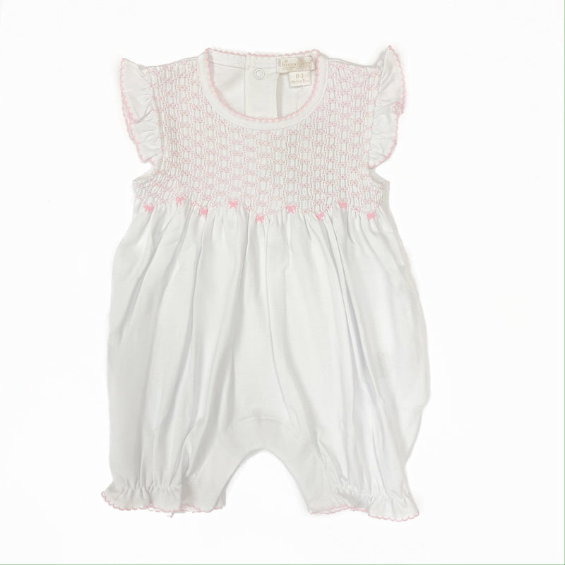 Kissy Kissy White w/ Pink Short Playsuit w/ Hand Smocking
