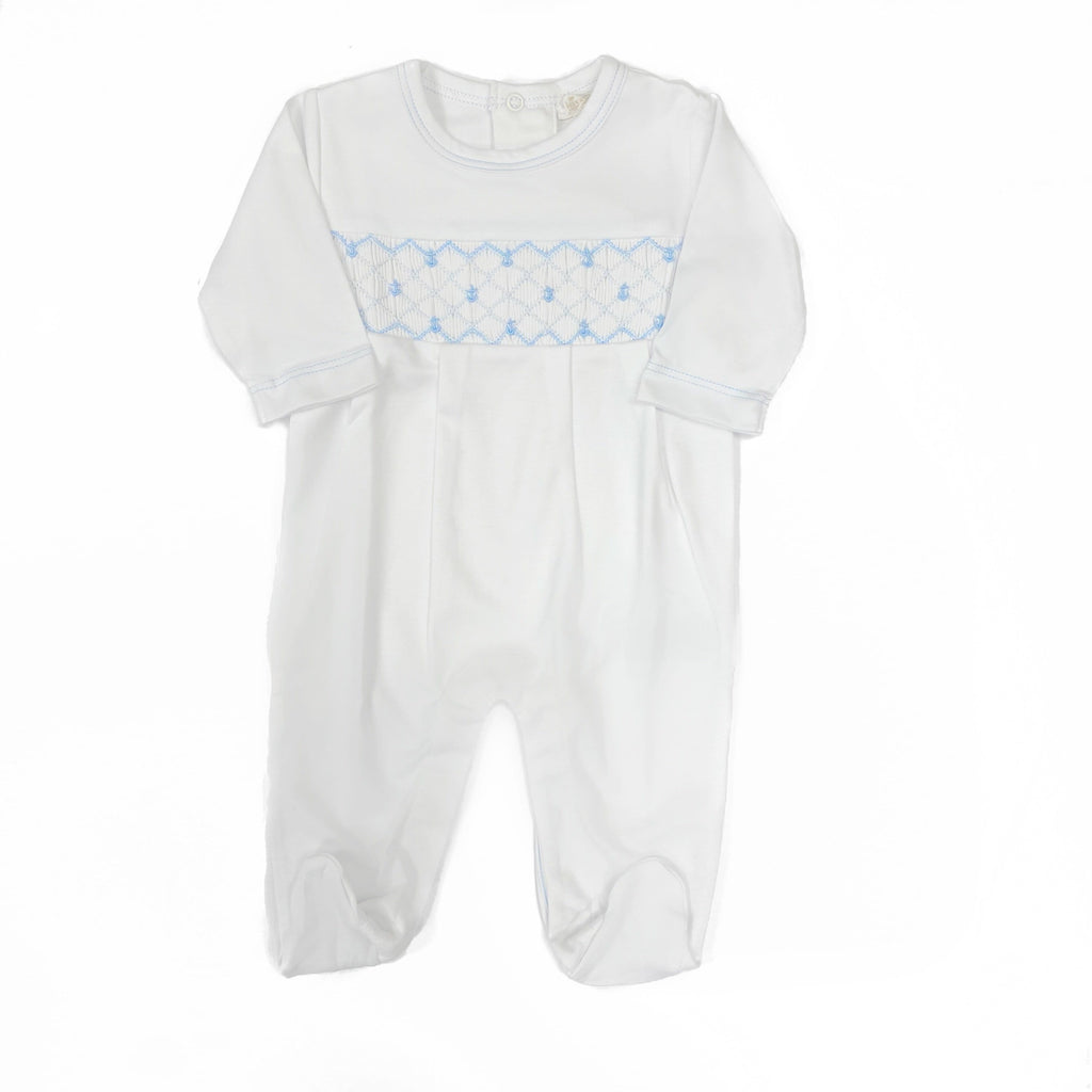 Kissy Kissy White w/ Light Blue Footie with Hand Smocking