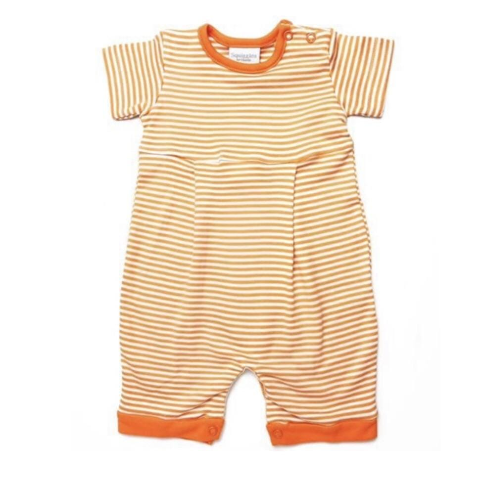 Squiggles- Striped Orange Pima Romper