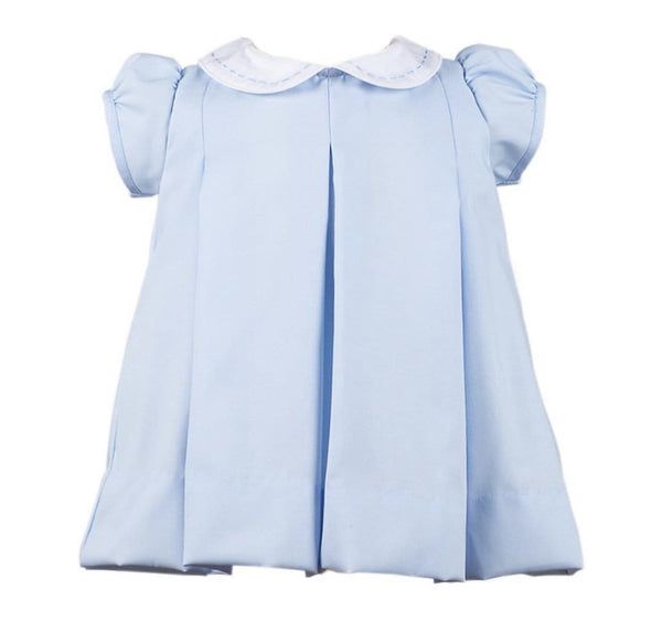 Proper Peony Light Blue Pleat Dress with Light Blue Stitching