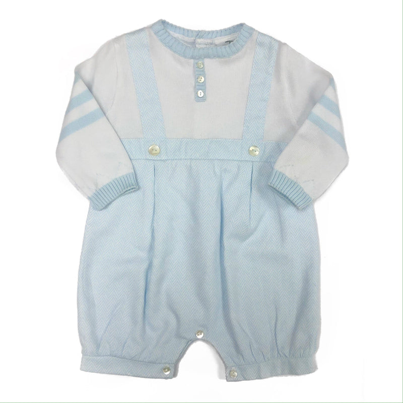Sarah Louise Dani Blue and White Long Sleeved Boys Romper