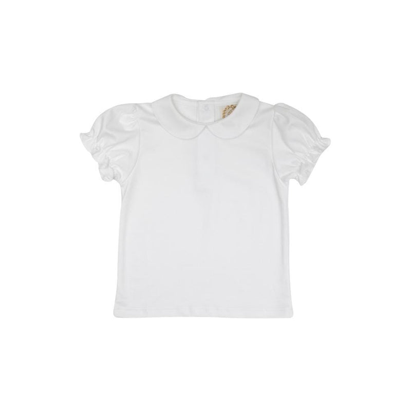 TBBC Maude Pima Peter Pan Ruffle Short Sleeve - Worth Avenue White