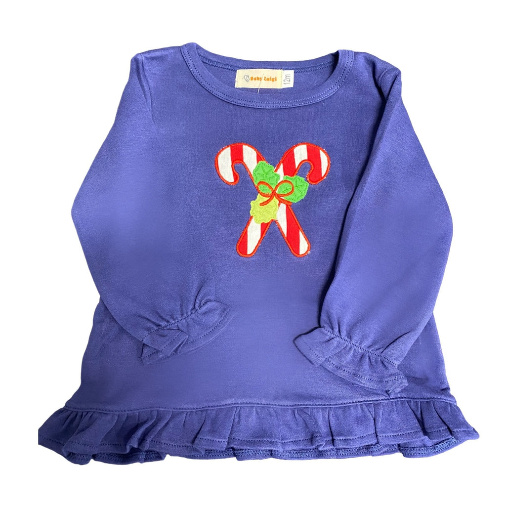 Luigi Kids Ruffle Dark Royal Swing Top - Candy Canes with Holly