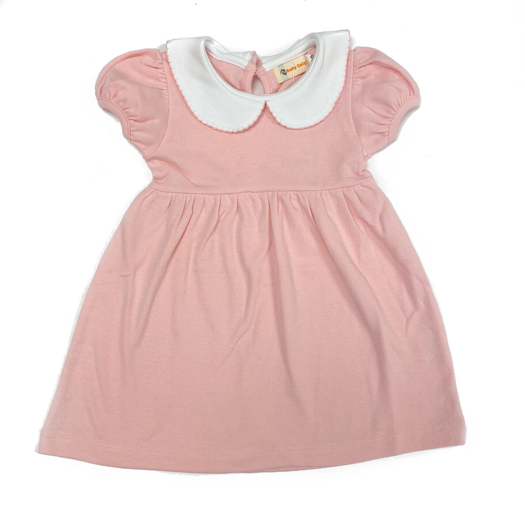 Luigi Kids Short Sleeve Picot Dress- Light Pink