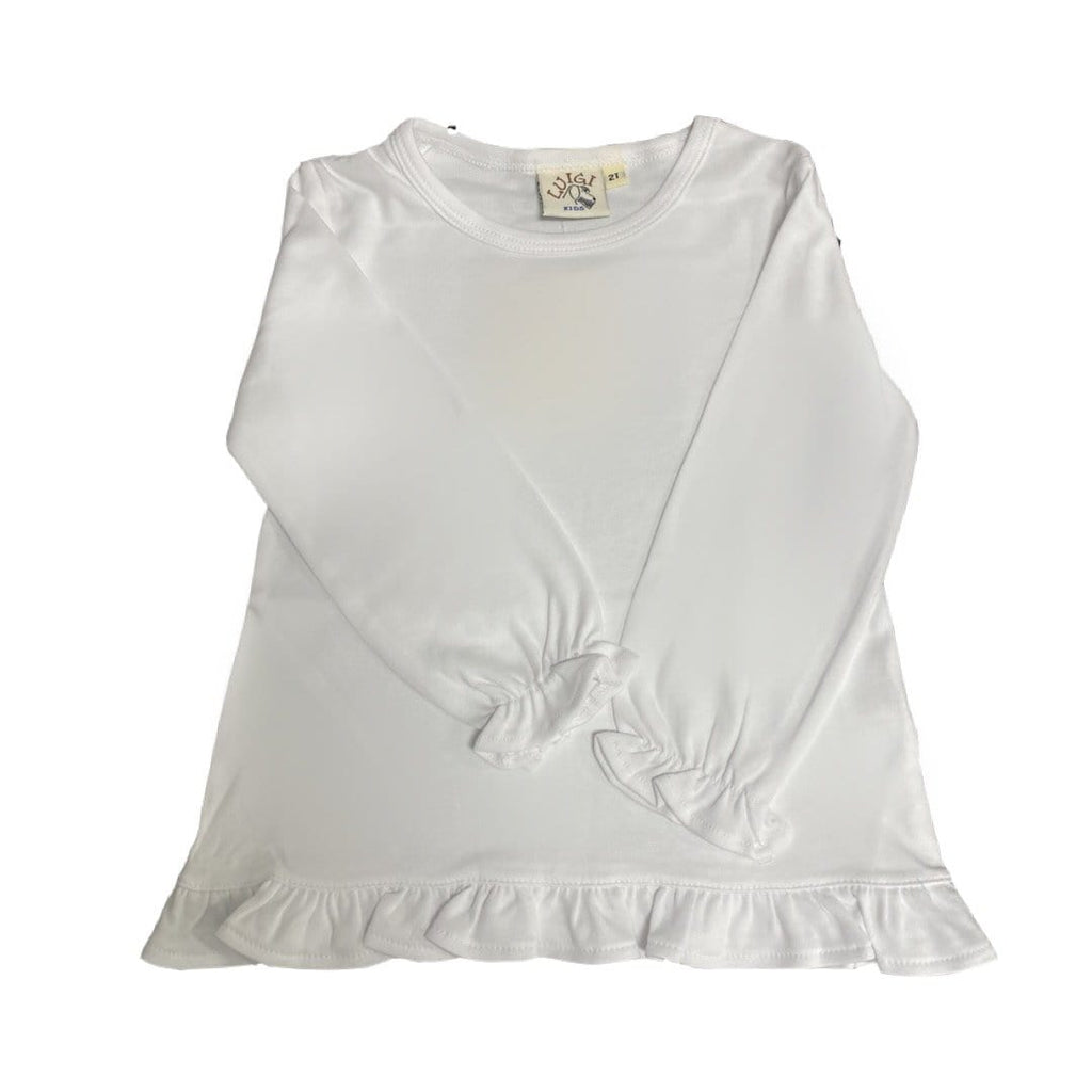 Luigi Kids Long Sleeve Top with Ruffle Trim - White