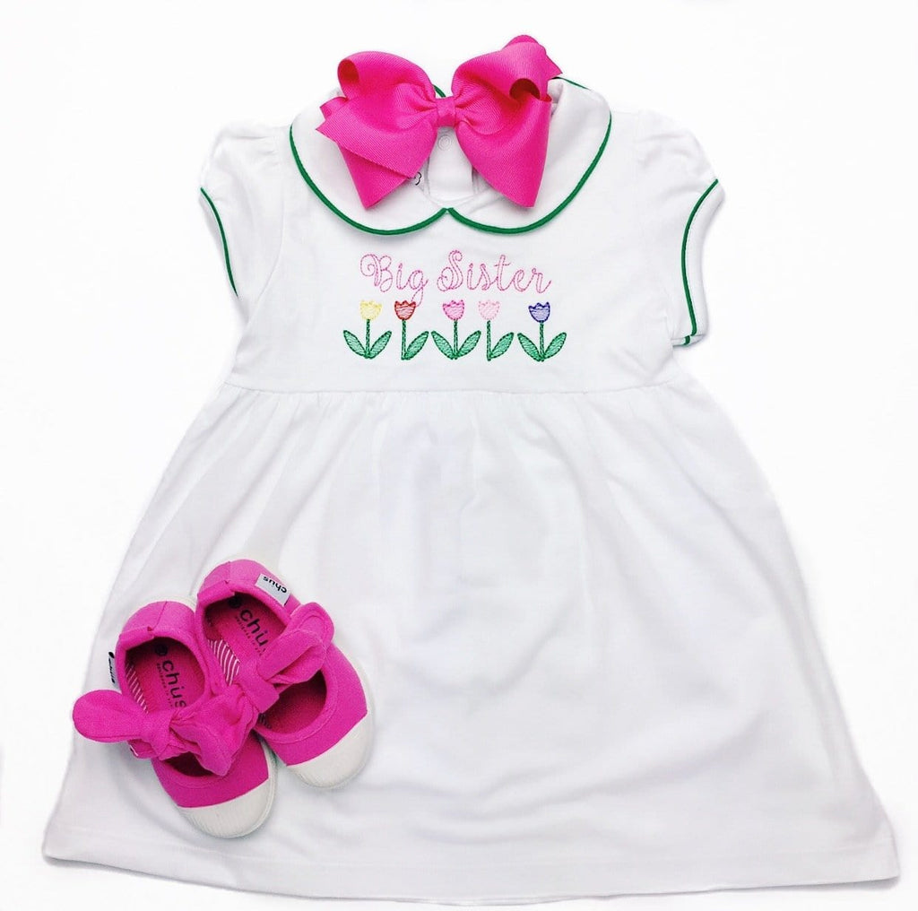 Bambinos Green and White Trinity Twirl Dress