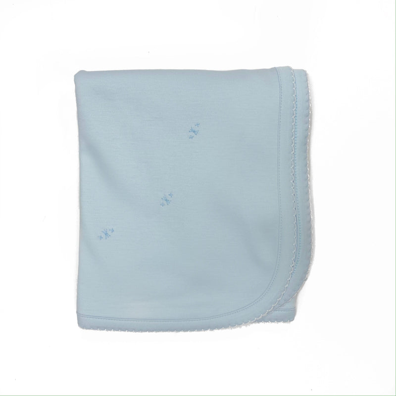 The Proper Peony Pima Baby Blanket Blue