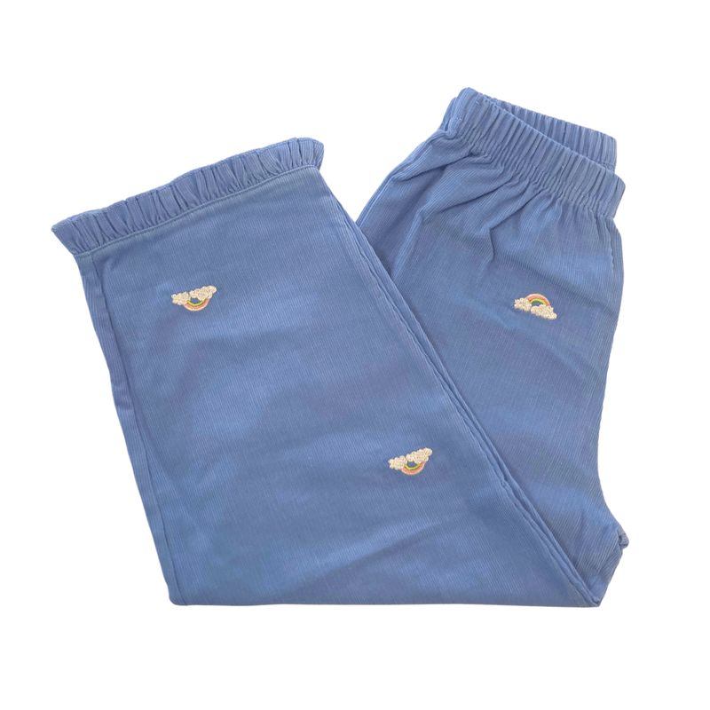 Luigi Kids Sky Blue Corduroy Pants - Rainbows with Clouds