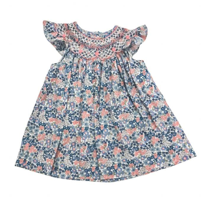 Sweet Dreams Liz Dark Blue/Pink Smocked Dress