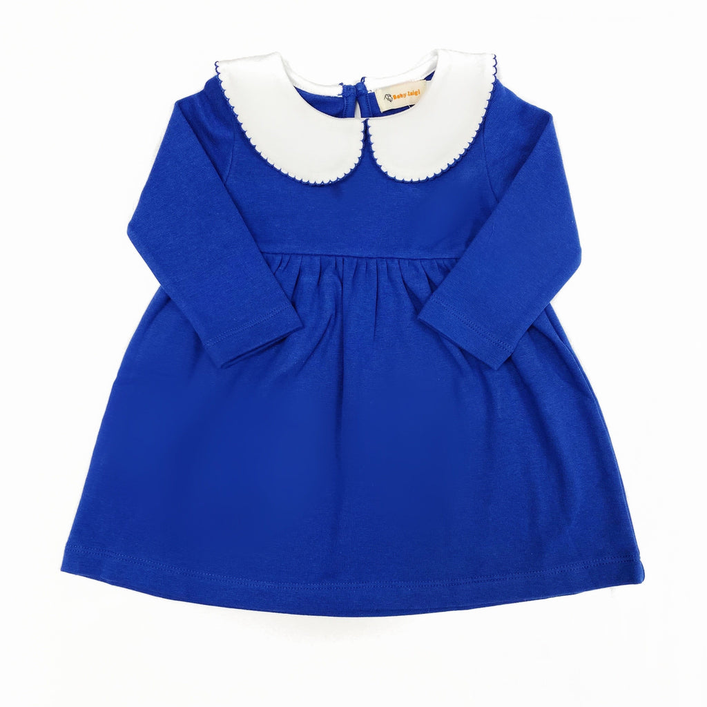 Luigi Kids Long Sleeve Picot Dress - Royal Blue