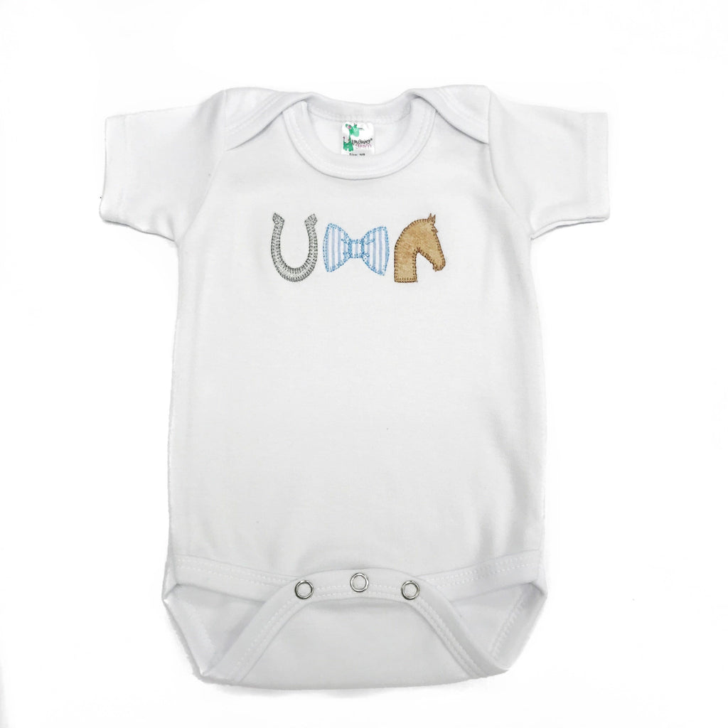 A for Avery Horse Trio Boy Onesie - Horse, Horseshoe, and Bow Tie