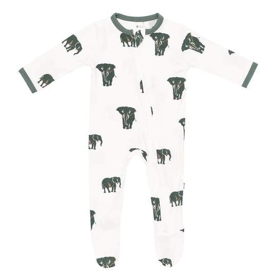 kyte baby zippered footie printed elephant