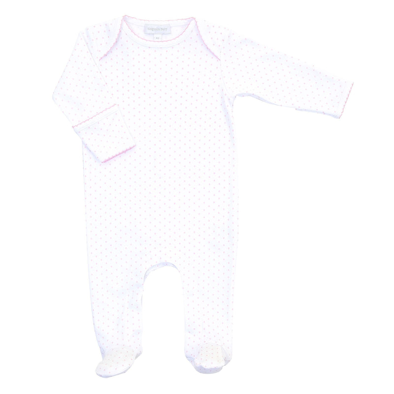 Magnolia Baby Mini Dot Essentials Lap Footie - Pink
