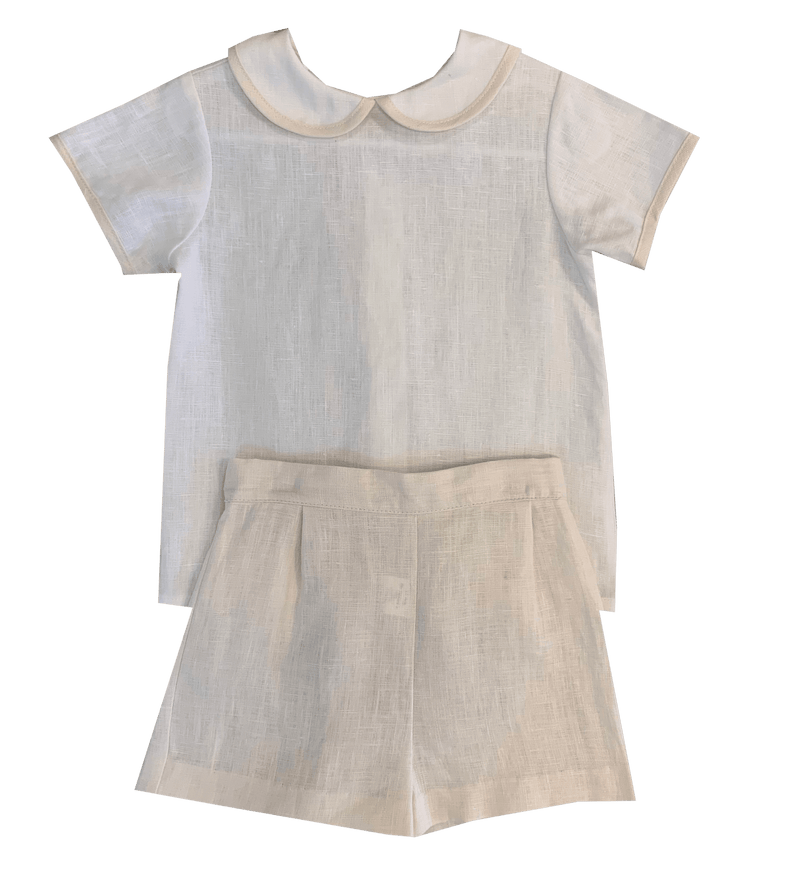 Lullaby Set Peter Short Set - White Linen with Khaki