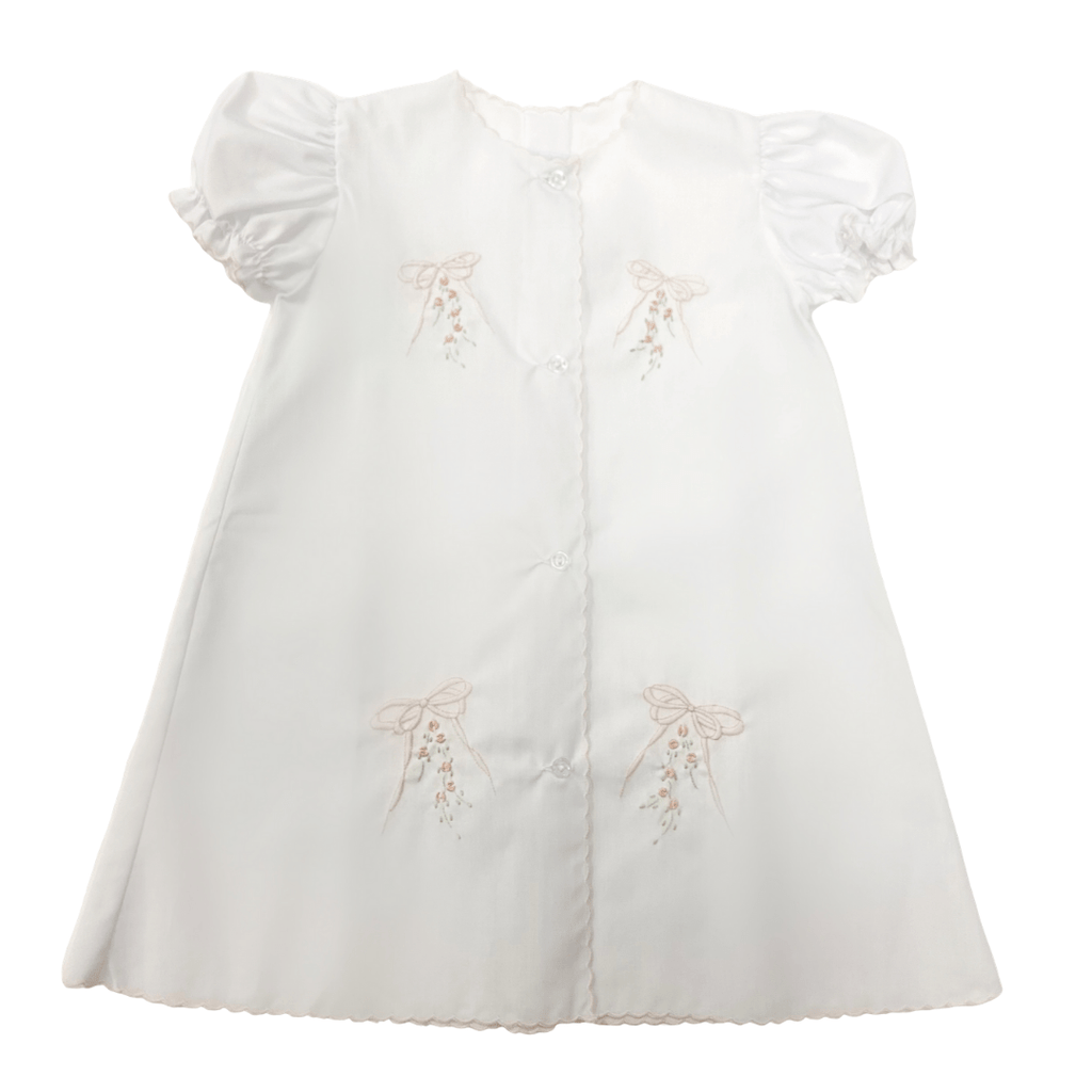 Auraluz White Daygown with Tiny Bows