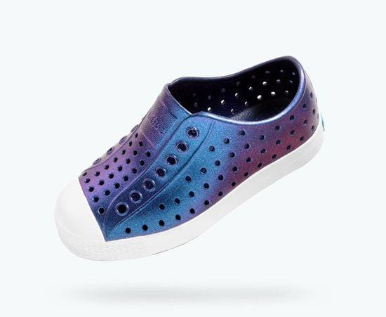 Native Jefferson Iridescent Child Slip On Shoes - Regatta Blue/Galaxy