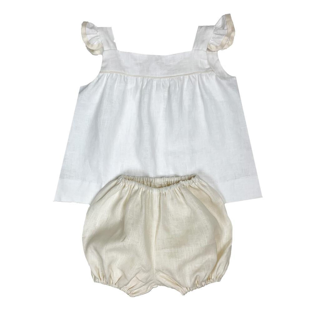 Lullaby Set Sally Swing Set - White Linen with Khaki Trim and Bloomer