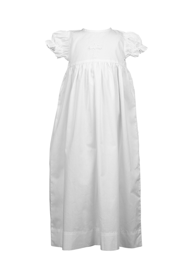The Proper Peony Cross Baby Baptism Gown - White