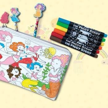 creative coloring carry all pouch- magical mermaid