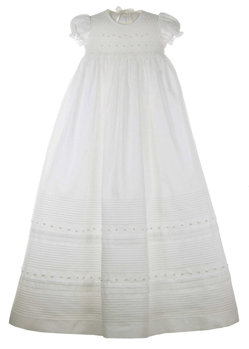 Will'beth White Christening Gown with Pearl Smocking