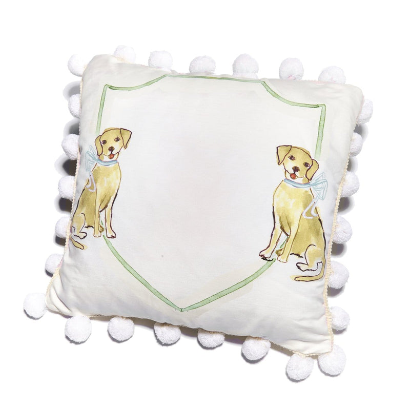 Over the Moon Gift Puppy Dog Pillow with Blue Bow