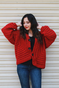 Red Lace Oversized Jacket