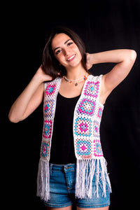 White Colorful Squares Cardigan