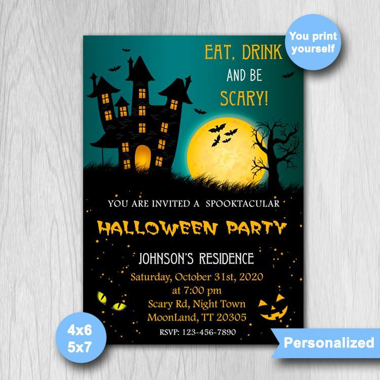 Halloween Birthday Invitation, Halloween Party Invitation, Halloween Invitation, Halloween Card - ONLY FILE - mariiadesignshop