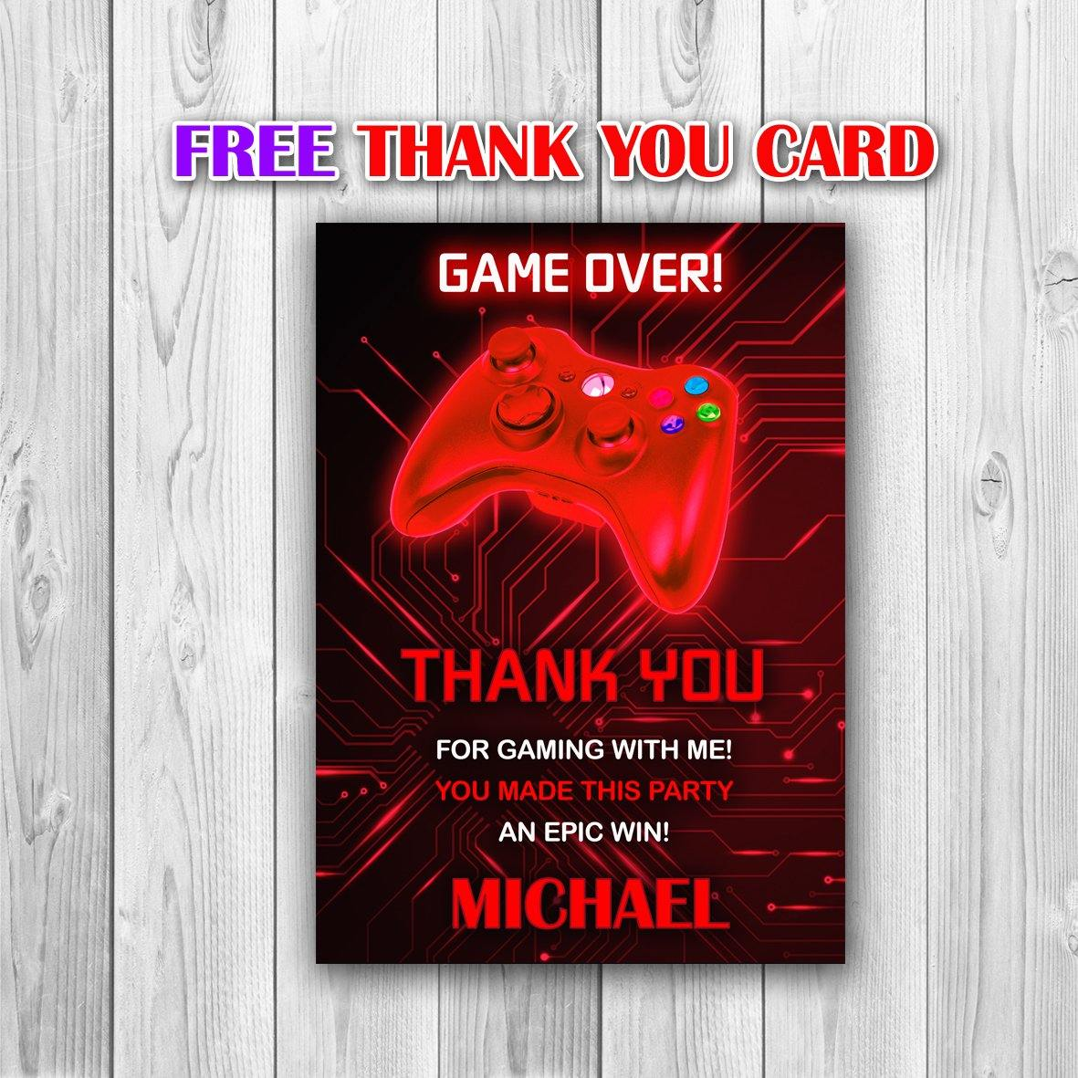 Video Game Party Invitations, Video Game Invitation, Gaming Party Invitation, Video Game Birthday, Video Game Red Invitation - ONLY FILE - mariiadesignshop