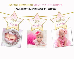 Twinkle Twinkle Little Star Banner, Little Star Banner, Monthy photo banner, first birthday banner - mariiadesignshop
