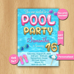 Pool Party Birthday Invitation, Pool Party Invitation, Pool Party Invite, Swimming party invitation, personalized - mariiadesignshop