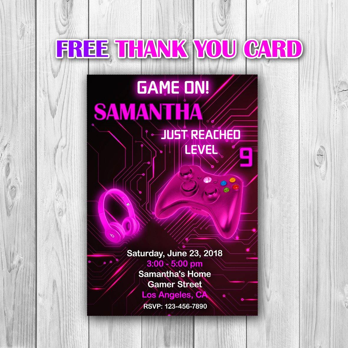 Video Game Party Invitations, Video Game Invitation, Video Game Photo Invitation, Video Game Girl Invitation, Gaming Invitation - ONLY FILE - mariiadesignshop