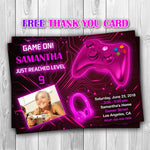 Load image into Gallery viewer, Video Game Party Invitations, Video Game Invitation, Video Game Photo Invitation, Video Game Girl Invitation, Gaming Invitation - ONLY FILE - mariiadesignshop
