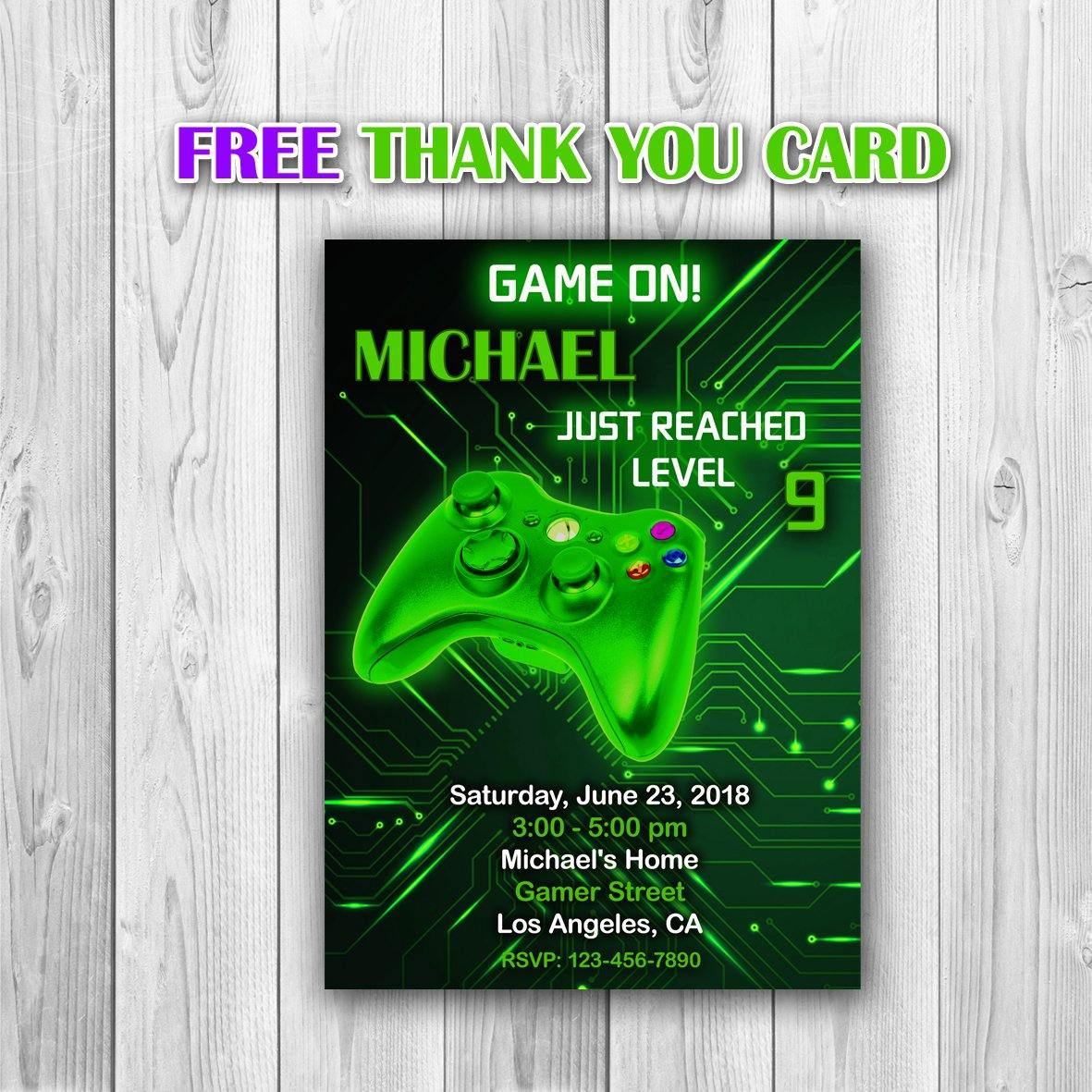 Video Game Party Invitations, Video Game Invitation, Gaming Party Invitation, Video Game Birthday, Video Game Green Invitation - ONLY FILE - mariiadesignshop