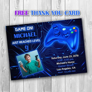Video Game Party Invitations, Video Game Invitation, Gaming Party Invitation, Video Game Birthday, Video Game Blue Invitation - ONLY FILE