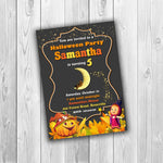 Load image into Gallery viewer, Halloween Birthday Invitation, Halloween Party Invitation, Halloween Invitation, Masha and the Bear Halloween Invitation - ONLY FILE - mariiadesignshop